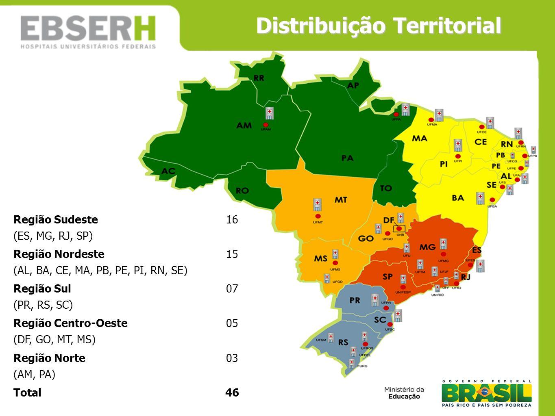 Distribuição Territorial Região Sudeste (ES, MG, RJ, SP) 16 Região Nordeste (AL, BA, CE, MA, PB, PE, PI, RN, SE) 15 Região Sul (PR, RS, SC) 07 Região