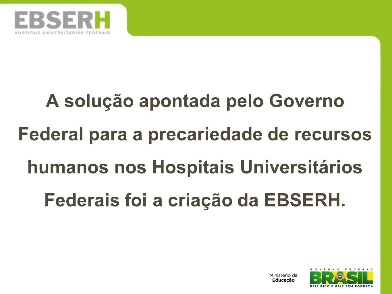 A solução apontada pelo Governo Federal para a precariedade de recursos humanos nos Hospitais Universitários Federais foi a criação da EBSERH.
