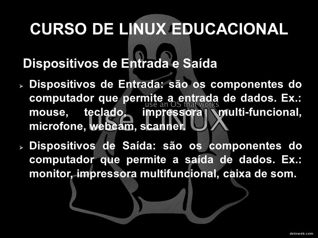 CURSO DE LINUX EDUCACIONAL Dispositivos de Entrada e Saída Dispositivos de Entrada: são os componentes do computador que permite a entrada de dados. E