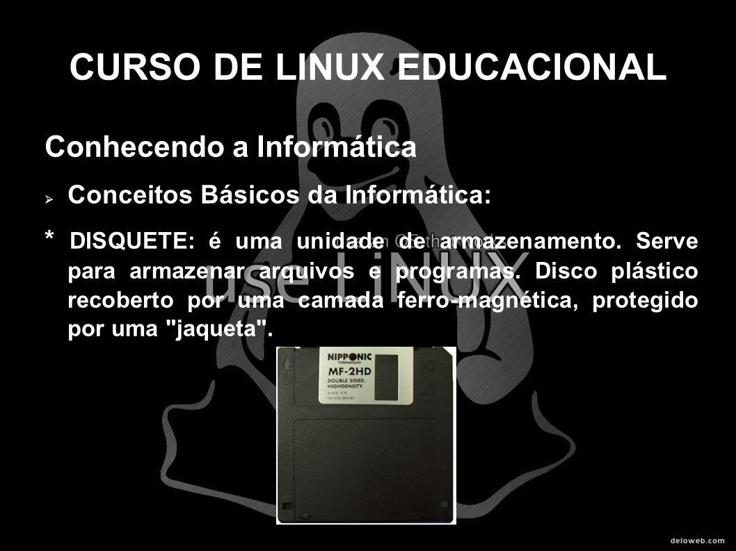 CURSO DE LINUX EDUCACIONAL Conhecendo a Informática Conceitos Básicos da Informática: * DISQUETE: é uma unidade de armazenamento. Serve para armazenar