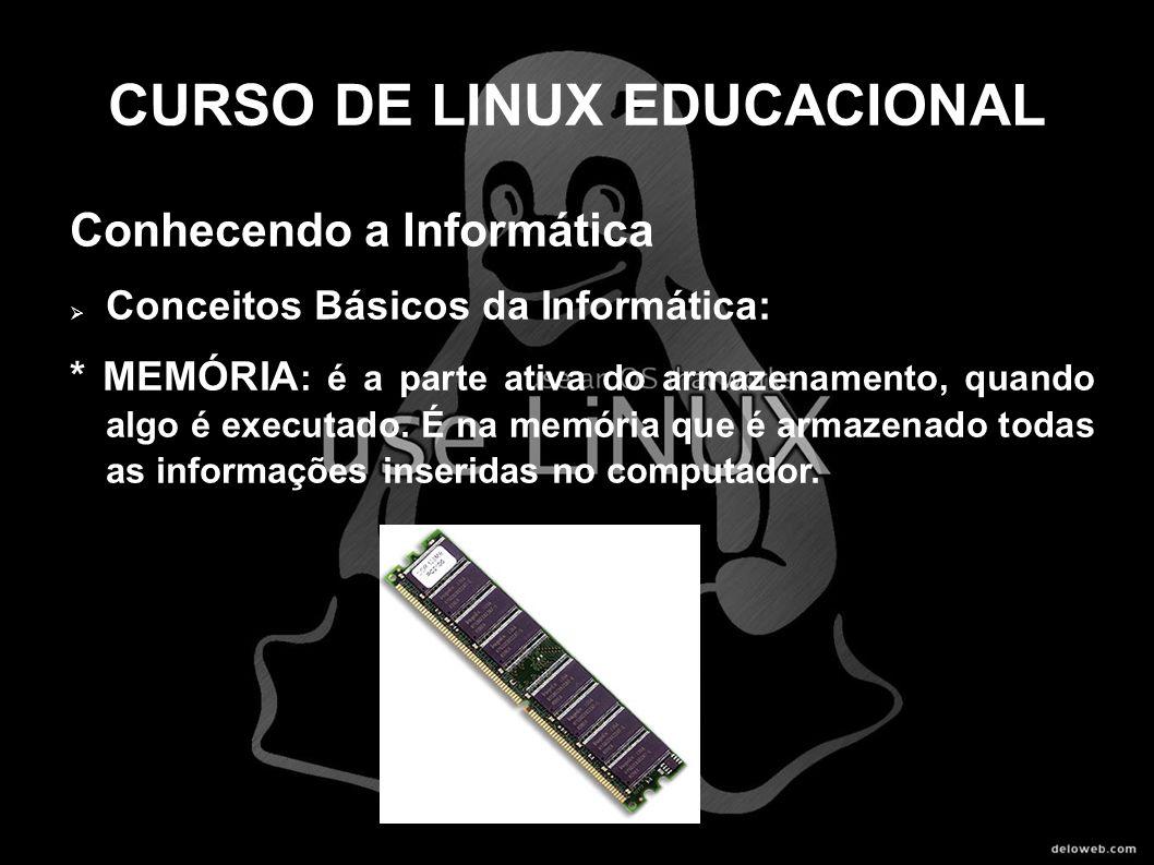 CURSO DE LINUX EDUCACIONAL Conhecendo a Informática Conceitos Básicos da Informática: * MEMÓRIA : é a parte ativa do armazenamento, quando algo é exec
