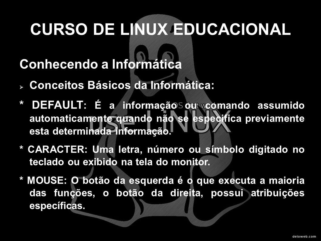 CURSO DE LINUX EDUCACIONAL Conhecendo a Informática Conceitos Básicos da Informática: * DEFAULT : É a informação ou comando assumido automaticamente q