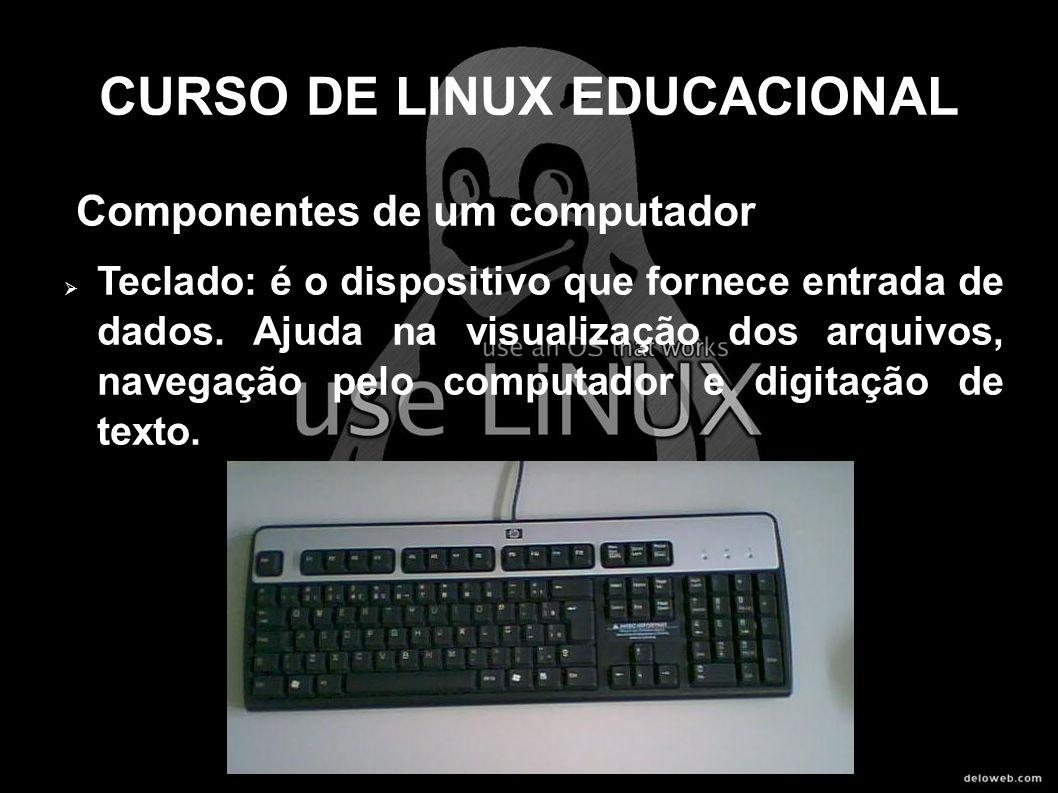 CURSO DE LINUX EDUCACIONAL Componentes de um computador Teclado: é o dispositivo que fornece entrada de dados. Ajuda na visualização dos arquivos, nav
