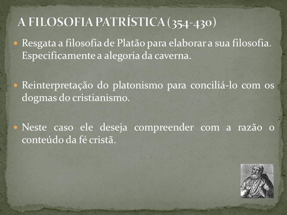 Resgata a filosofia de Platão para elaborar a sua filosofia. Especificamente a alegoria da caverna. Reinterpretação do platonismo para conciliá-lo com