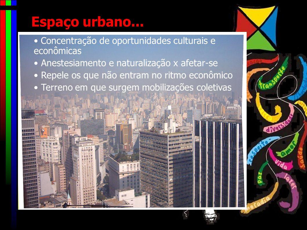 O que é o espaço urbano? Organização caótica Pujança e diversidade cultural Vários centros e periferias (fortalezas das elites isoladas do aglomerado