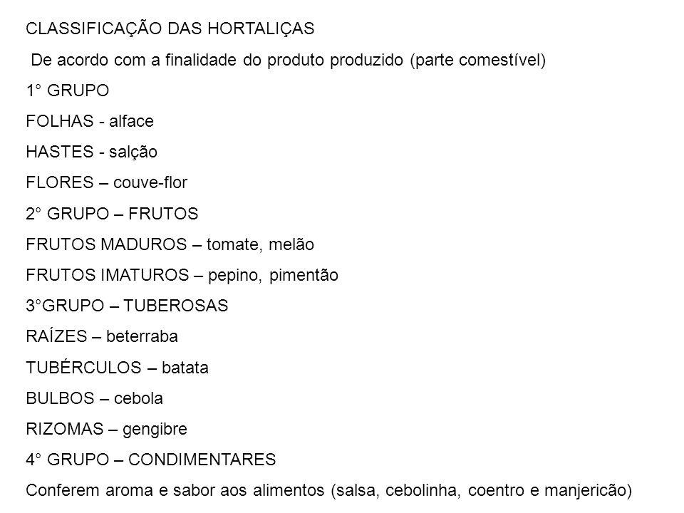 CLASSIFICAÇÃO DAS HORTALIÇAS De acordo com a finalidade do produto produzido (parte comestível) 1° GRUPO FOLHAS - alface HASTES - salção FLORES – couv