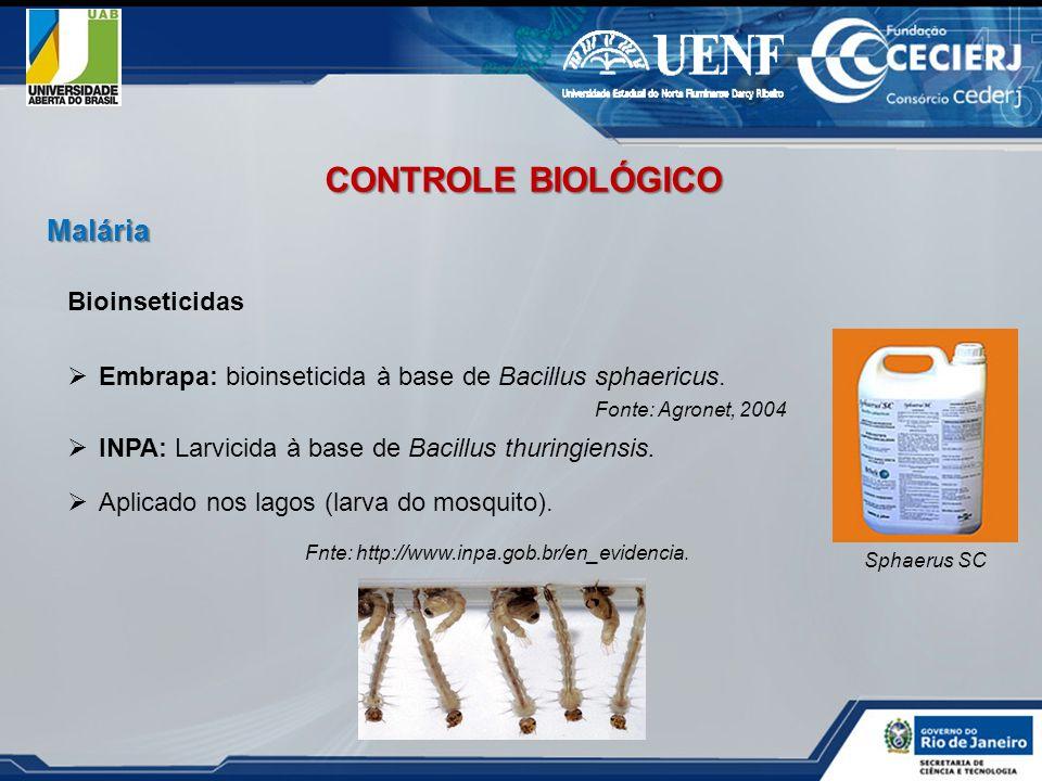 Bioinseticidas Embrapa: bioinseticida à base de Bacillus sphaericus. Fonte: Agronet, 2004 Sphaerus SC INPA: Larvicida à base de Bacillus thuringiensis