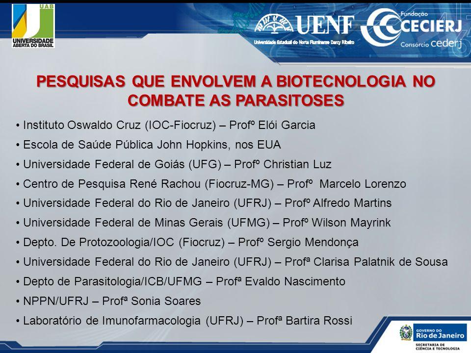 Instituto Oswaldo Cruz (IOC-Fiocruz) – Profº Elói Garcia Escola de Saúde Pública John Hopkins, nos EUA Universidade Federal de Goiás (UFG) – Profº Chr