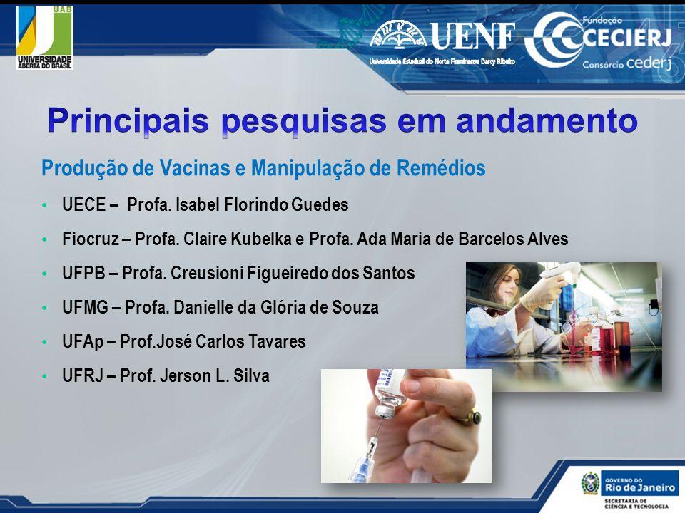 Produção de Vacinas e Manipulação de Remédios UECE – Profa. Isabel Florindo Guedes Fiocruz – Profa. Claire Kubelka e Profa. Ada Maria de Barcelos Alve