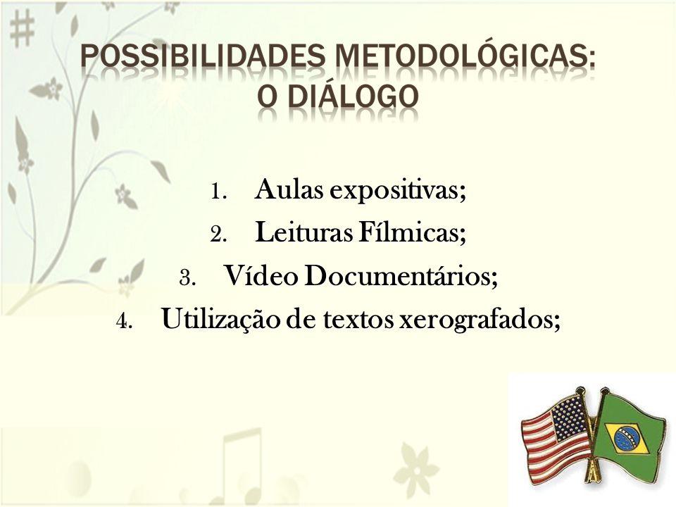 1. Aulas expositivas; 2. Leituras Fílmicas; 3. Vídeo Documentários; 4. Utilização de textos xerografados;