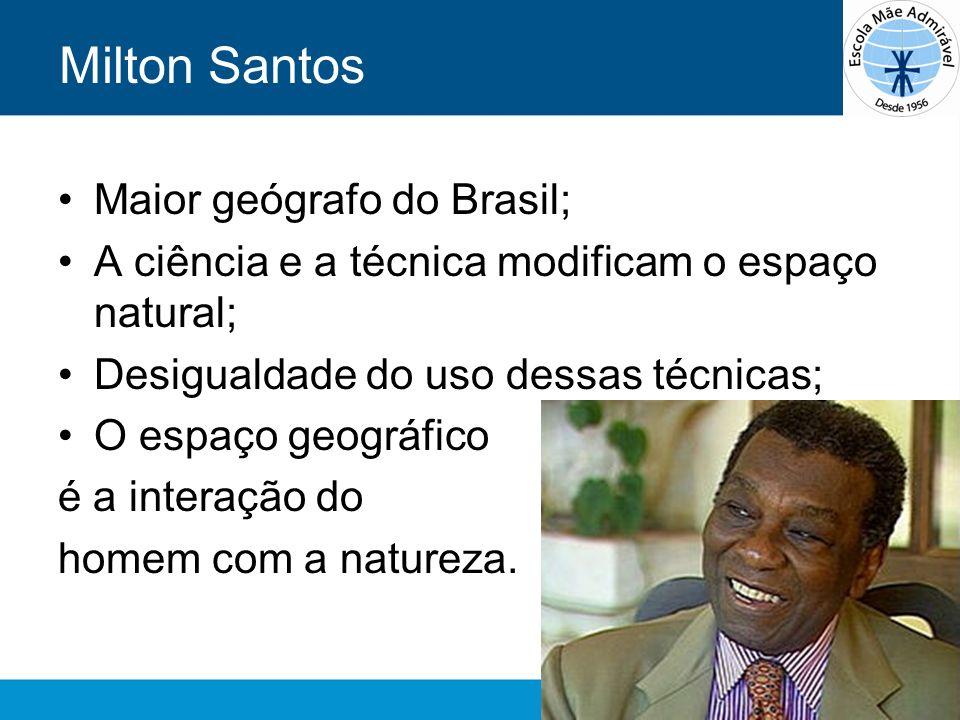 Milton Santos Maior geógrafo do Brasil; A ciência e a técnica modificam o espaço natural; Desigualdade do uso dessas técnicas; O espaço geográfico é a
