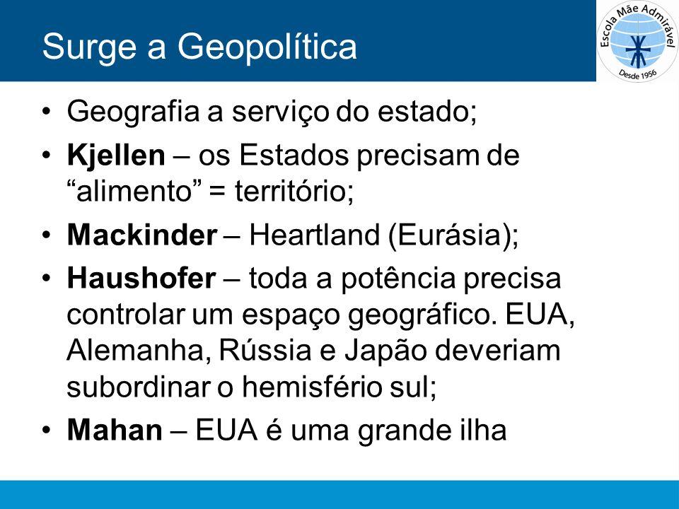 Surge a Geopolítica Geografia a serviço do estado; Kjellen – os Estados precisam de alimento = território; Mackinder – Heartland (Eurásia); Haushofer