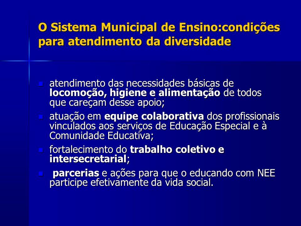 O Sistema Municipal de Ensino:condições para atendimento da diversidade atendimento das necessidades básicas de locomoção, higiene e alimentação de to