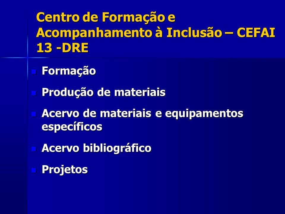 Centro de Formação e Acompanhamento à Inclusão – CEFAI 13 -DRE Formação Formação Produção de materiais Produção de materiais Acervo de materiais e equ