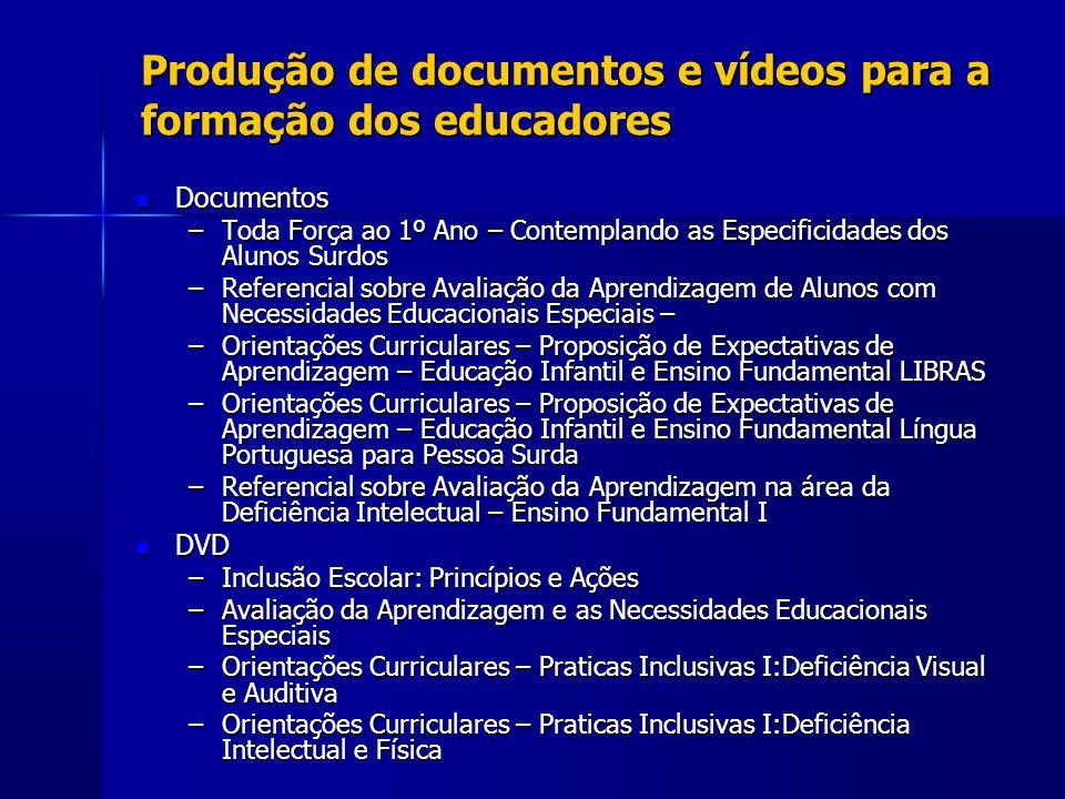 Produção de documentos e vídeos para a formação dos educadores Documentos Documentos –Toda Força ao 1º Ano – Contemplando as Especificidades dos Aluno