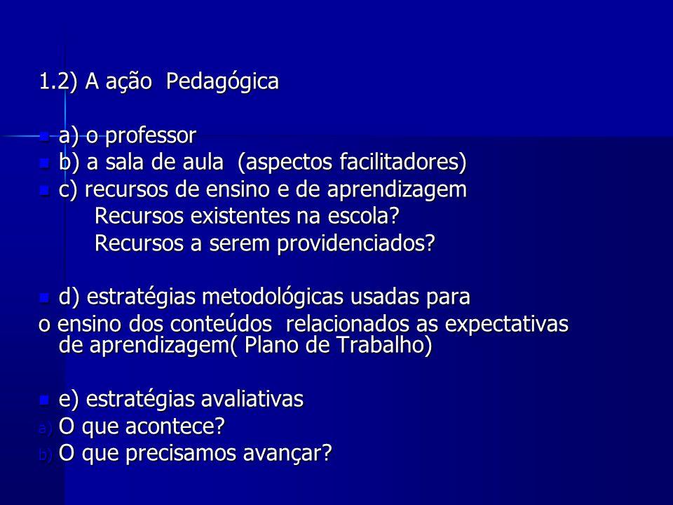 1.2) A ação Pedagógica a) o professor a) o professor b) a sala de aula (aspectos facilitadores) b) a sala de aula (aspectos facilitadores) c) recursos