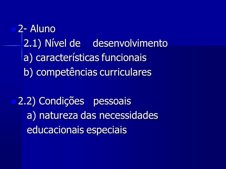 2- Aluno 2- Aluno 2.1) Nível de desenvolvimento 2.1) Nível de desenvolvimento a) características funcionais a) características funcionais b) competênc