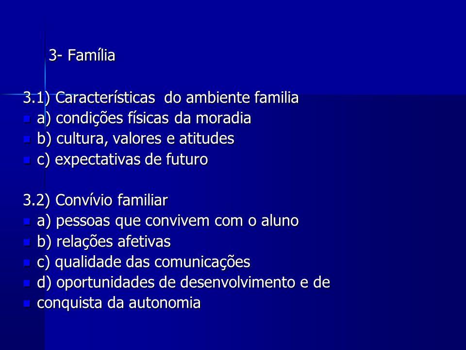 3- Família 3- Família 3.1) Características do ambiente familia a) condições físicas da moradia a) condições físicas da moradia b) cultura, valores e a
