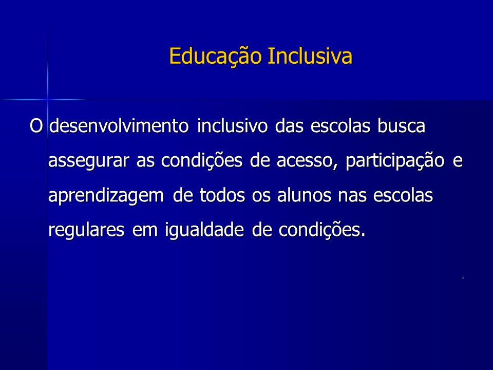 Educação Inclusiva O desenvolvimento inclusivo das escolas busca assegurar as condições de acesso, participação e aprendizagem de todos os alunos nas