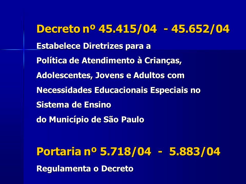Decreto nº 45.415/04 - 45.652/04 Estabelece Diretrizes para a Política de Atendimento à Crianças, Adolescentes, Jovens e Adultos com Necessidades Educ