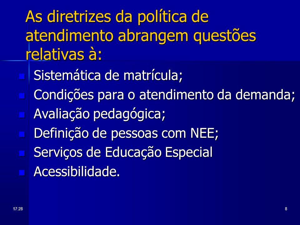 As diretrizes da política de atendimento abrangem questões relativas à: Sistemática de matrícula; Sistemática de matrícula; Condições para o atendimen