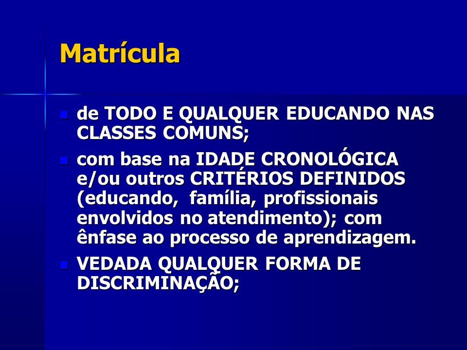 Matrícula de TODO E QUALQUER EDUCANDO NAS CLASSES COMUNS; de TODO E QUALQUER EDUCANDO NAS CLASSES COMUNS; com base na IDADE CRONOLÓGICA e/ou outros CR