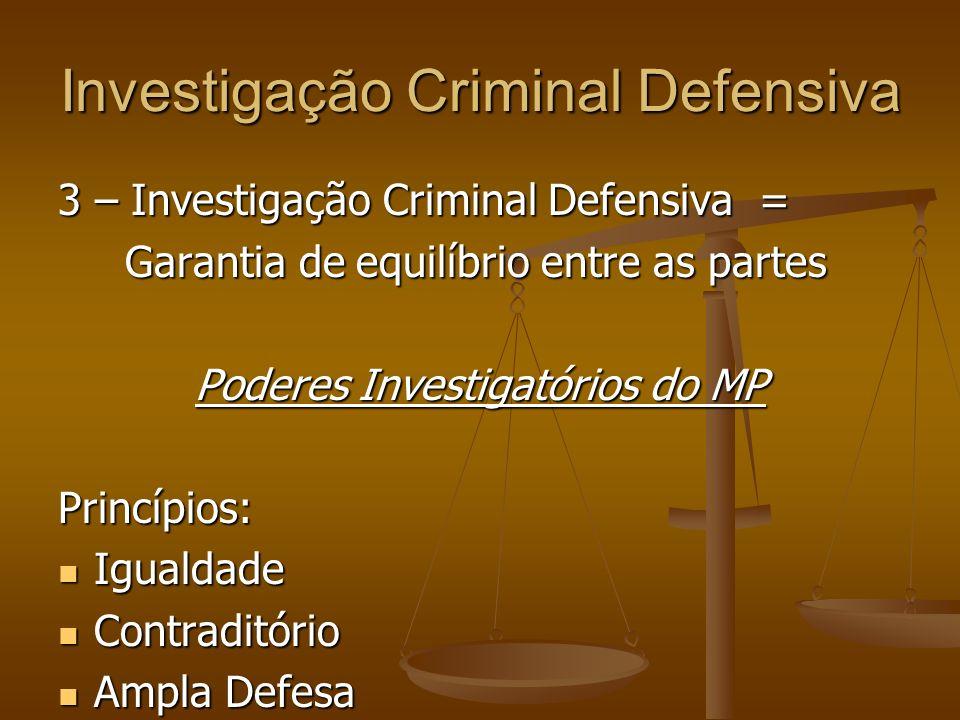 Investigação Criminal Defensiva 3 – Investigação Criminal Defensiva = Garantia de equilíbrio entre as partes Garantia de equilíbrio entre as partes Po