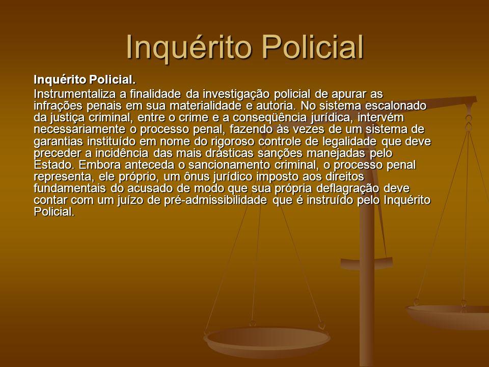 Inquérito Policial Inquérito Policial. Instrumentaliza a finalidade da investigação policial de apurar as infrações penais em sua materialidade e auto