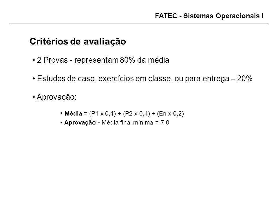 FATEC - Sistemas Operacionais I Critérios de avaliação 2 Provas - representam 80% da média Estudos de caso, exercícios em classe, ou para entrega – 20% Aprovação: Média = (P1 x 0,4) + (P2 x 0,4) + (En x 0,2) Aprovação - Média final mínima = 7,0