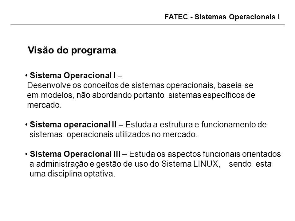 FATEC - Sistemas Operacionais I Visão do programa Sistema Operacional I – Desenvolve os conceitos de sistemas operacionais, baseia-se em modelos, não abordando portanto sistemas específicos de mercado.