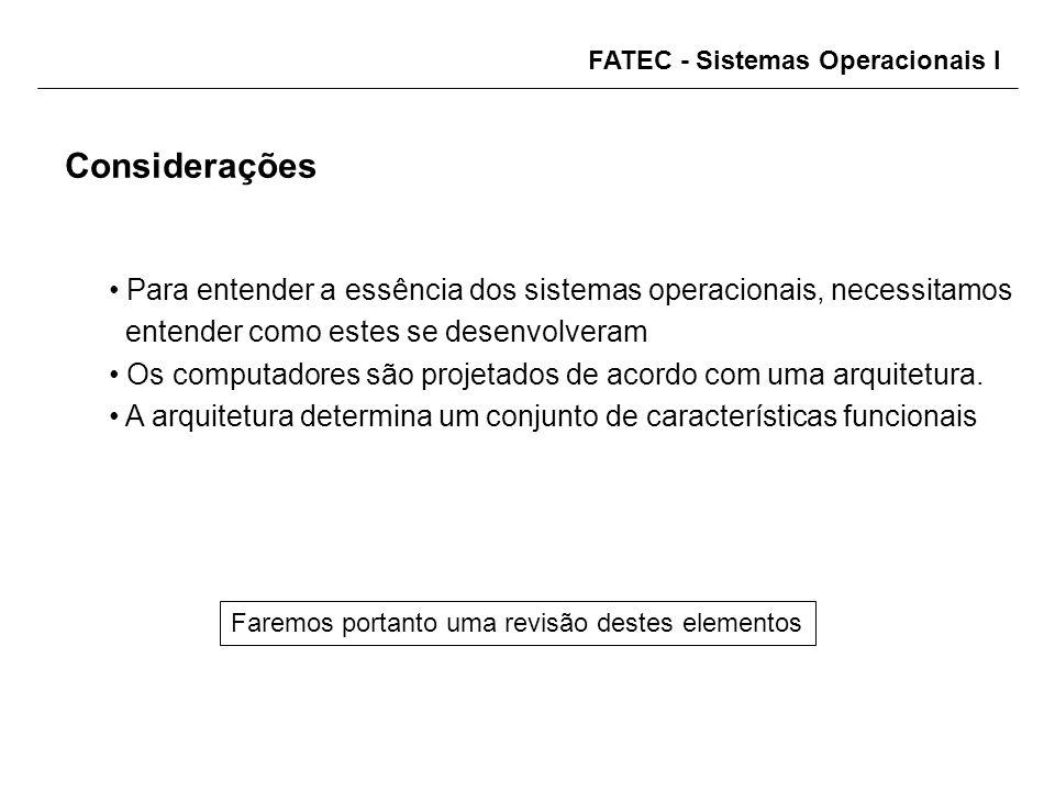 FATEC - Sistemas Operacionais I Para entender a essência dos sistemas operacionais, necessitamos entender como estes se desenvolveram Os computadores são projetados de acordo com uma arquitetura.