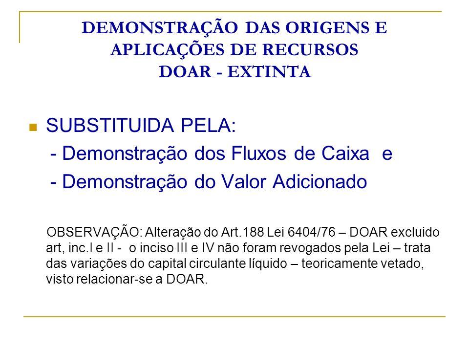 DEMONSTRAÇÃO DAS ORIGENS E APLICAÇÕES DE RECURSOS DOAR - EXTINTA SUBSTITUIDA PELA: - Demonstração dos Fluxos de Caixa e - Demonstração do Valor Adicio