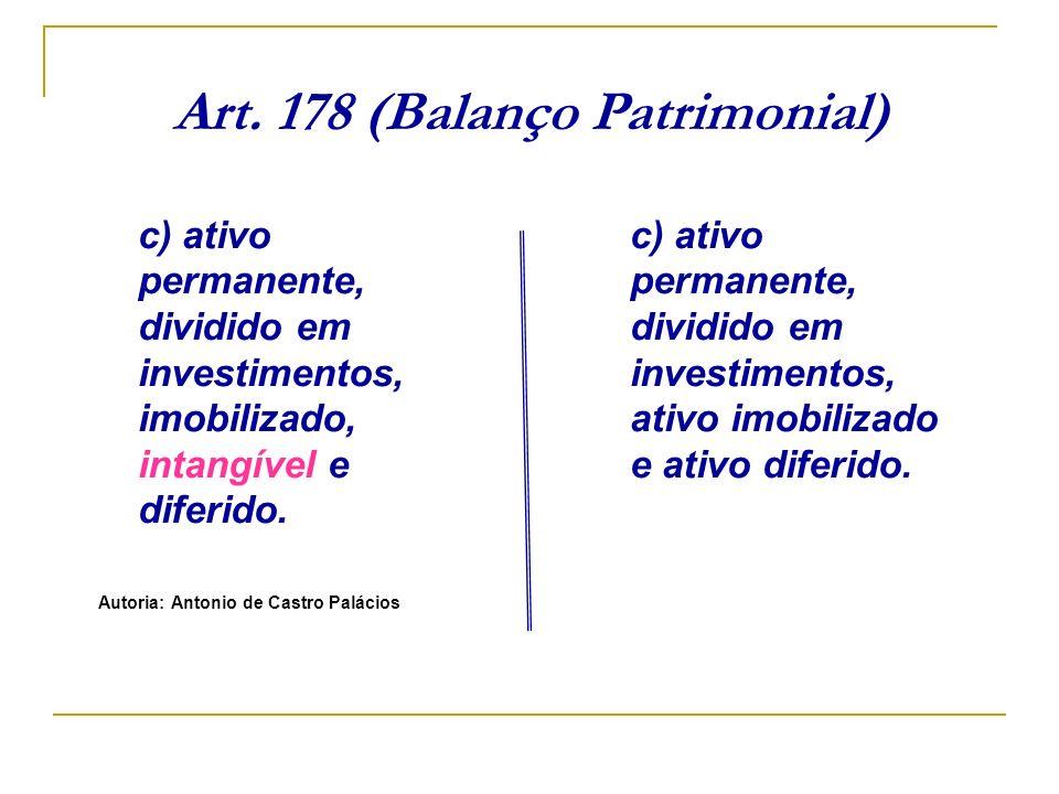 Art. 178 (Balanço Patrimonial) c) ativo permanente, dividido em investimentos, imobilizado, intangível e diferido. Autoria: Antonio de Castro Palácios