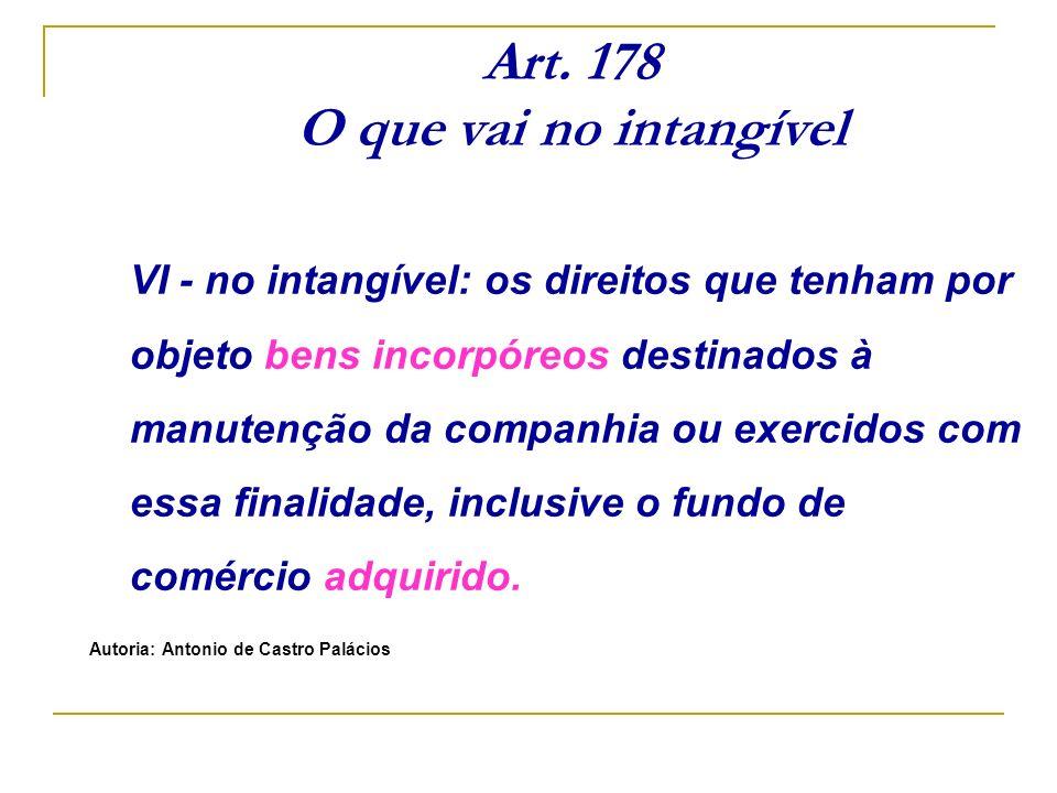Art. 178 O que vai no intangível VI - no intangível: os direitos que tenham por objeto bens incorpóreos destinados à manutenção da companhia ou exerci