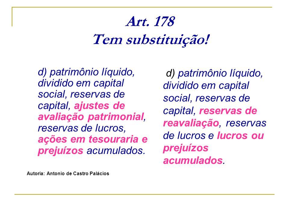 Art. 178 Tem substituição! d) patrimônio líquido, dividido em capital social, reservas de capital, ajustes de avaliação patrimonial, reservas de lucro