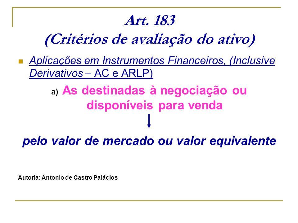 Art. 183 (Critérios de avaliação do ativo) Aplicações em Instrumentos Financeiros, (Inclusive Derivativos – AC e ARLP) a) As destinadas à negociação o
