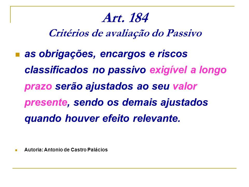 Art. 184 Critérios de avaliação do Passivo as obrigações, encargos e riscos classificados no passivo exigível a longo prazo serão ajustados ao seu val