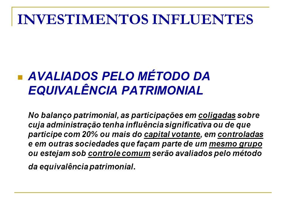 INVESTIMENTOS INFLUENTES AVALIADOS PELO MÉTODO DA EQUIVALÊNCIA PATRIMONIAL No balanço patrimonial, as participações em coligadas sobre cuja administra