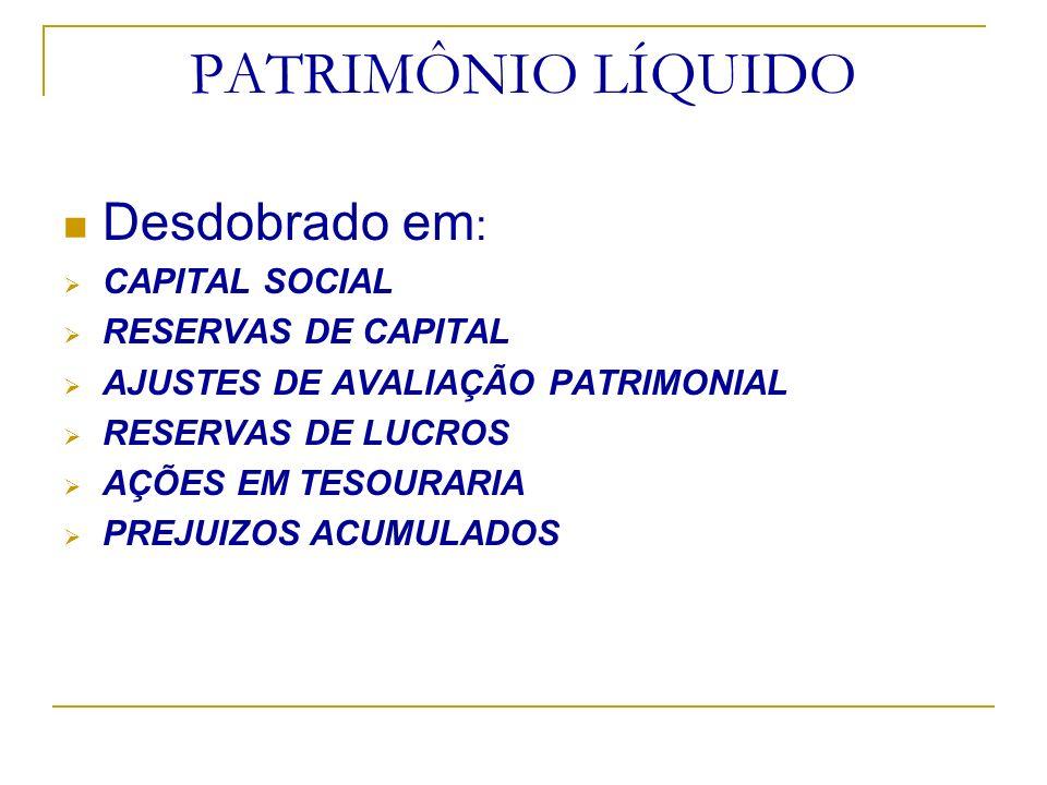 PATRIMÔNIO LÍQUIDO Desdobrado em : CAPITAL SOCIAL RESERVAS DE CAPITAL AJUSTES DE AVALIAÇÃO PATRIMONIAL RESERVAS DE LUCROS AÇÕES EM TESOURARIA PREJUIZO
