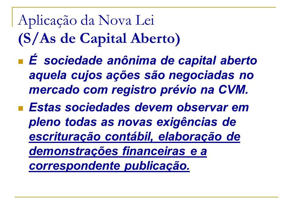 Aplicação da Nova Lei (S/As de Capital Aberto) É sociedade anônima de capital aberto aquela cujos ações são negociadas no mercado com registro prévio