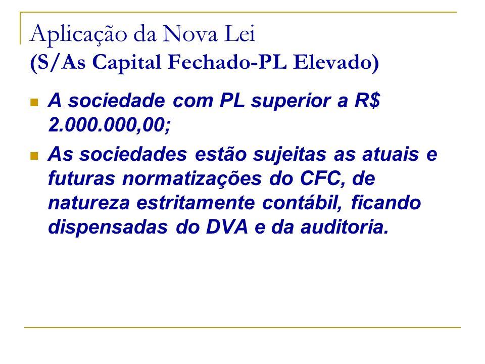 Aplicação da Nova Lei (S/As Capital Fechado-PL Elevado) A sociedade com PL superior a R$ 2.000.000,00; As sociedades estão sujeitas as atuais e futura