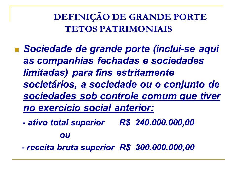 DEFINIÇÃO DE GRANDE PORTE TETOS PATRIMONIAIS Sociedade de grande porte (inclui-se aqui as companhias fechadas e sociedades limitadas) para fins estrit