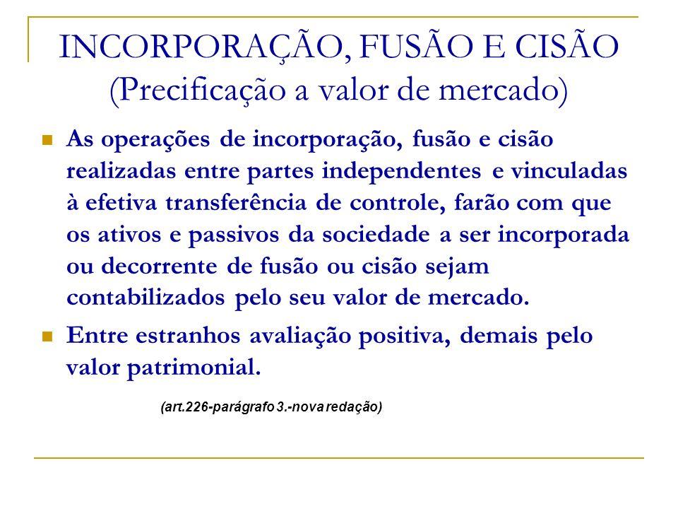 INCORPORAÇÃO, FUSÃO E CISÃO (Precificação a valor de mercado) As operações de incorporação, fusão e cisão realizadas entre partes independentes e vinc