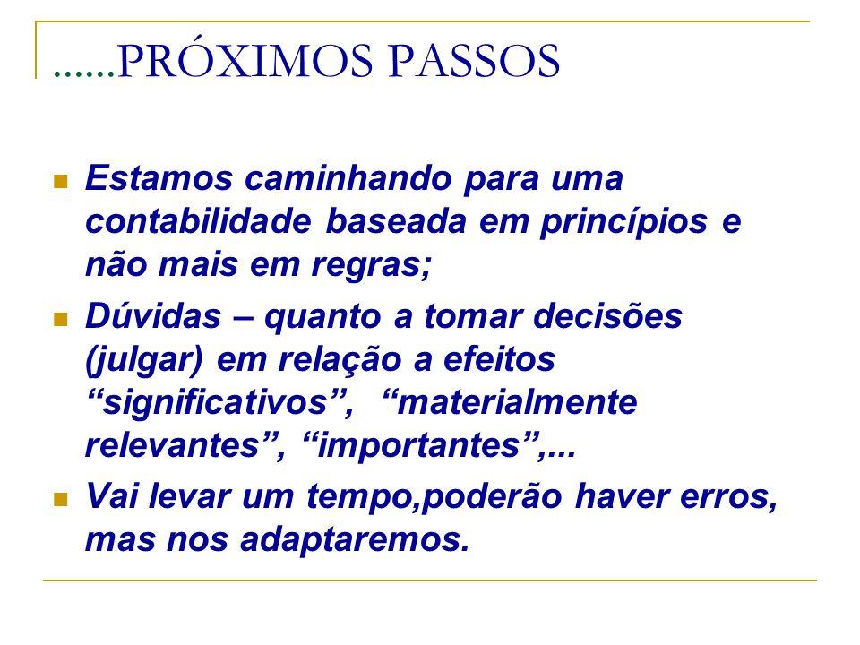 ......PRÓXIMOS PASSOS Estamos caminhando para uma contabilidade baseada em princípios e não mais em regras; Dúvidas – quanto a tomar decisões (julgar)
