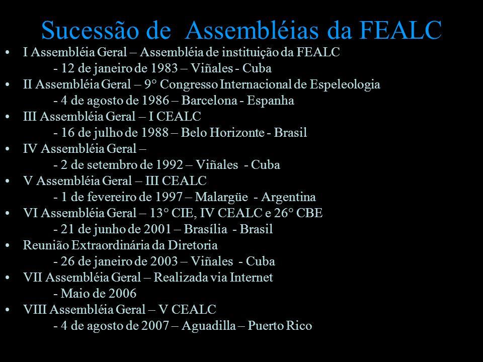 Sucessão de Assembléias da FEALC I Assembléia Geral – Assembléia de instituição da FEALC - 12 de janeiro de 1983 – Viñales - Cuba II Assembléia Geral