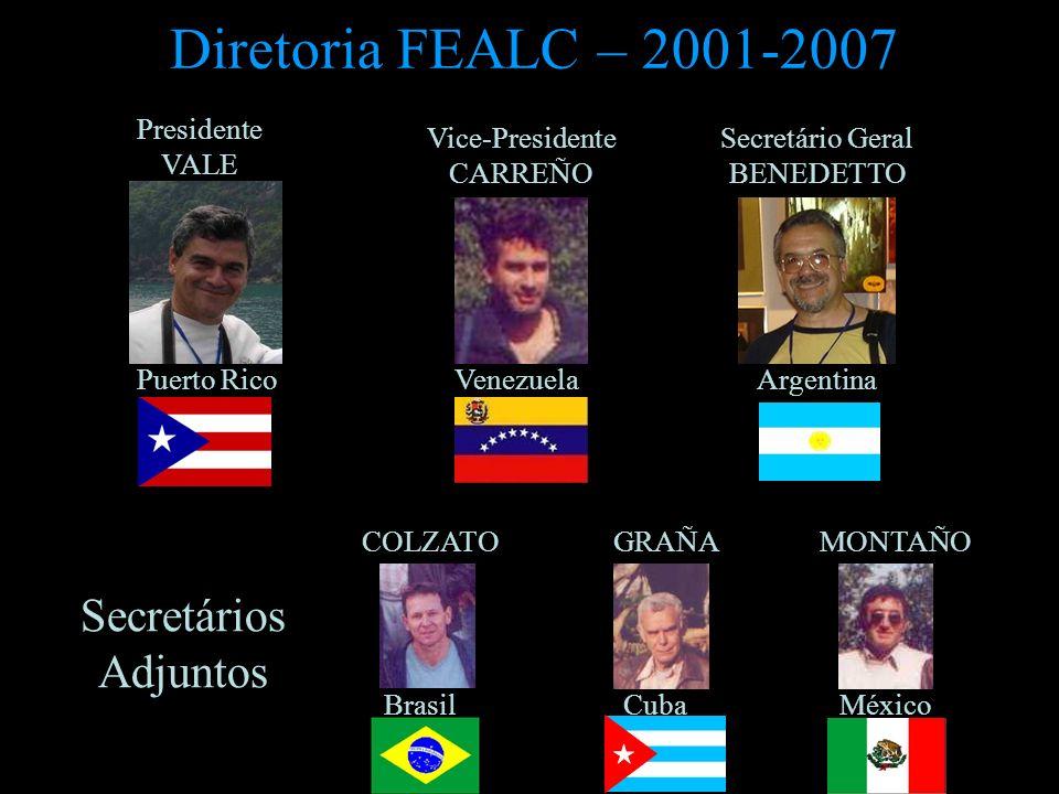 Diretoria FEALC – 2001-2007 Presidente VALE Puerto Rico Vice-Presidente CARREÑO Secretário Geral BENEDETTO COLZATO GRAÑA MONTAÑO VenezuelaArgentina Br