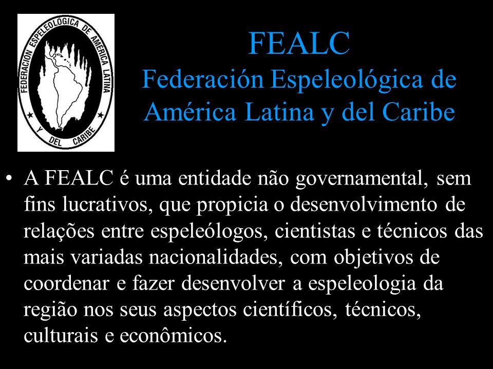 FEALC Federación Espeleológica de América Latina y del Caribe A FEALC é uma entidade não governamental, sem fins lucrativos, que propicia o desenvolvi