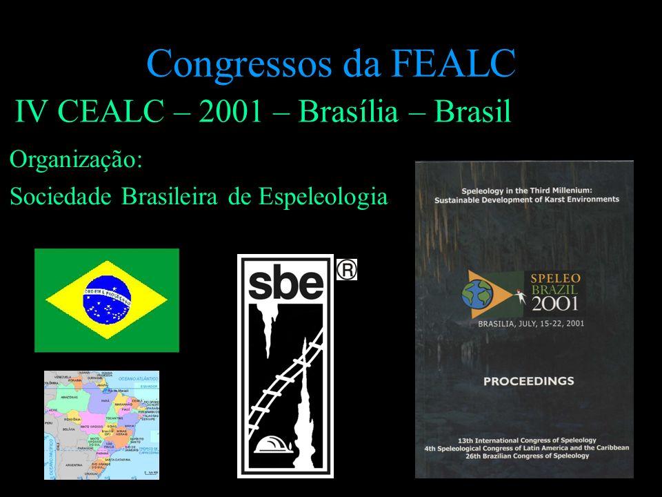IV CEALC – 2001 – Brasília – Brasil Organização: Sociedade Brasileira de Espeleologia