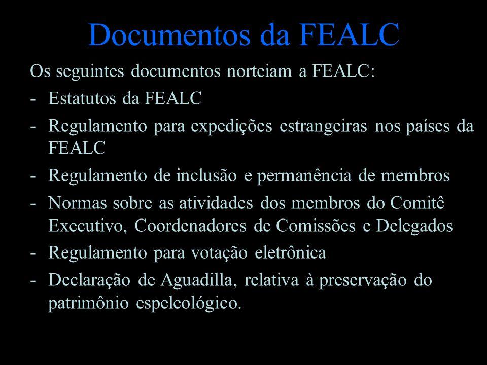 Documentos da FEALC Os seguintes documentos norteiam a FEALC: -E-Estatutos da FEALC -R-Regulamento para expedições estrangeiras nos países da FEALC -R
