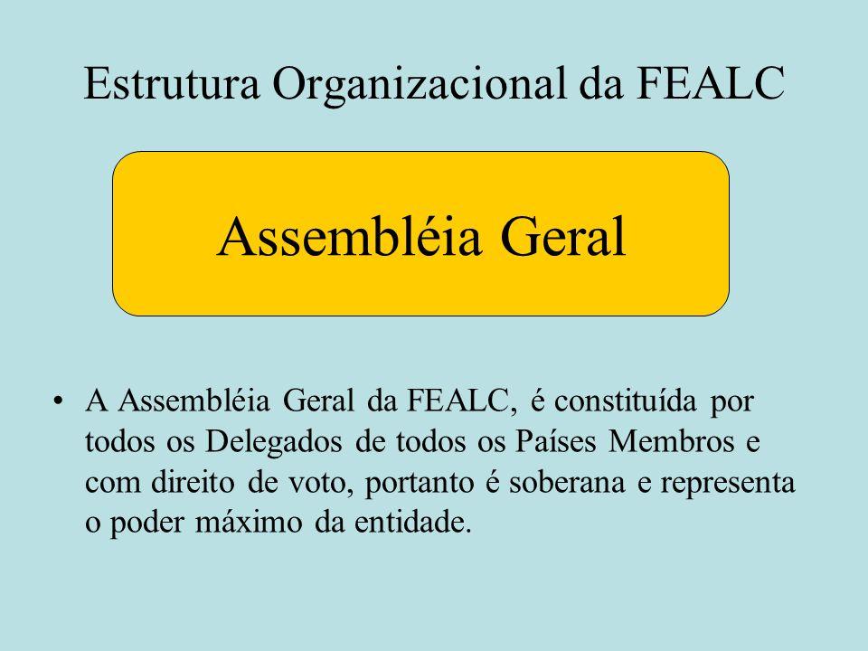 Estrutura Organizacional da FEALC Assembléia Geral A Assembléia Geral da FEALC, é constituída por todos os Delegados de todos os Países Membros e com